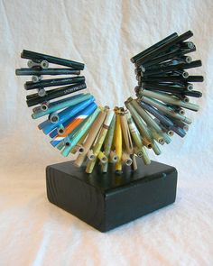 Rolled magazine sculpture