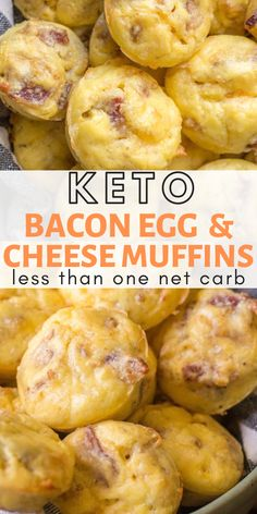 Keto Bacon Egg and Cheese Muffins - Keto Breakfast - Ideas of Keto Breakfast - Working on incorporating easy keto meal prep into your routine? Try these Keto Bacon Egg and Cheese Bites for an easy grab and go breakfast! Less than one net carb per bite! Cheese Muffins, Cheese Bites, Bacon Egg Muffins, Low Carb Egg Muffins, Cheese Croissant, Pancake Muffins, Keto Pancakes, Mini Muffins, Low Carb Breakfast