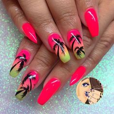 Palm Tree Coffin Nail Ideas In Hot Summer, Palm Tree Nails, Coffin Nails. -Perfect Palm Tree Coffin Nail Ideas In Hot Summer, Palm Tree Nails, Coffin Nails. Acrylic Summer Nails Beach, Bright Summer Nails, Beach Nails, Best Acrylic Nails, Nail Summer, Summer Vacation Nails, Summer Holiday Nails, Hawaii Nails, Summer Art