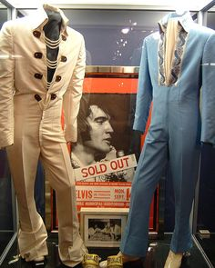 Here are two jumpsuits from 1970. On the left is the White Chain jumpsuit, and on the left, the Blue Brocade jumpsuit.