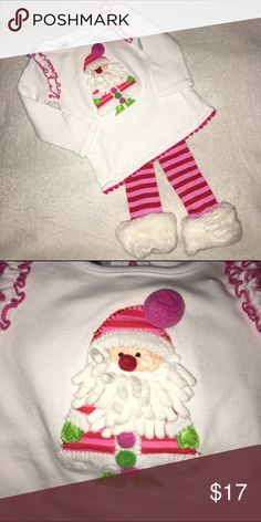 Adorable Mudpie Christmas Outfit White cotton tunic/dress with pink/red fur trimmed leggings. Top has 3D embroidered Santa, ruffles around shoulder arm seam & small pom trim around hem. Adorable outfit in excellent condition. Mud Pie Matching Sets