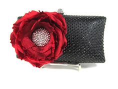 Black and Red Crystal Floral bridal clutch by bloomsnbrides,