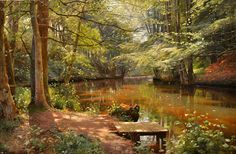 PEDER MORK MONSTED - Floresta Saeby - Óleo sobre tela - 80 x 120 - 1916 - Peder Mørk Mønsted (10 December 1859 — 20 June 1941) was in his time, the foremost landscape painter in his native Denmark, lauded for his photo-realist art.