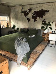Home decor bedroom Dream Rooms, Dream Bedroom, Home Decor Bedroom, Bedroom Bed, Bedroom With Couch, World Map Bedroom, Master Bedroom, Aesthetic Bedroom, New Room