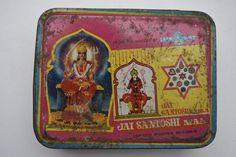 Old Santoshi Maa Vintage Tin Box, Rare Collectible Litho Print Tin Boxes #1839