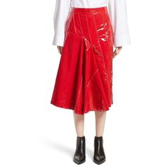 Women's Litkovskaya Lacquered Coastline Leather Skirt ($1,380) ❤ liked on Polyvore featuring skirts, red, wet look skirt, shiny skirt, mid calf skirts, red leather skirt and midi skirt