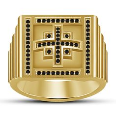 Men's 14k Gold Finish .925 Silver Black Sim Diamond Cross Wedding Men's Ring 7 8 #aonedesigns #MensWeddingRing