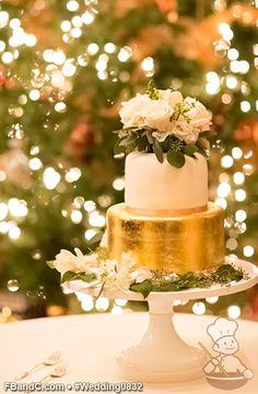 "Design W 0832 | Fondant Wedding Cake | 9""+6"" | Serves 40 | Gold Foil Bottom Tier, White Fondant cover with Champagne ribbon on base | Custom Quote | Photo Courtesy of Grace Havlak Photography"