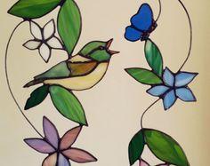 Aves de vidrieras suncatcher suspensión del vidrio de pájaro