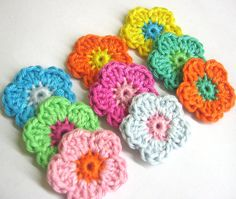 Crocheted flower appliques set of 9 colorful by KikamoraCrafts, $3.99