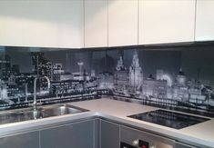 Printed Splashbacks - Kitchen glass backsplash with digital printing made of tempered glass with led background