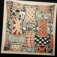 Zentangle one for a quilt. Dibujos Zentangle Art, Zentangle Drawings, Doodles Zentangles, Doodle Drawings, Tangle Doodle, Zen Doodle, Doodle Art, Doodle Patterns, Zentangle Patterns