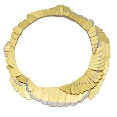 18 karat gold, platinum and diamond necklace, Angela Cummings for Tiffany & Co., circa 1980