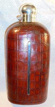 """Antiques Atlas - Huge Antique Crocodile Leather 10"""" Hip Flask C1900"""