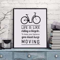"""""""Bicycle Life Inspirational Quotes Art Poster Photo Living Room Office Hotel Public Decorative Painting Wall Letters English"""" Art Prints Quotes, Wall Art Quotes, Wall Art Prints, Motivational Quotes For Life, Inspiring Quotes About Life, Life Quotes, Black And White Posters, Black And White Canvas, White Art"""