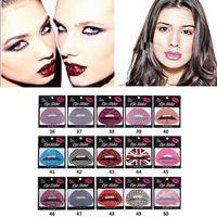10pcs grande Temporal Lip Tattoo Pegatinas Lipstick Arte Traslados del partido del arte del vestido de lujo 03 # 61705