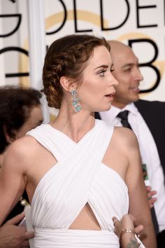 Emily Blunt's braid makes her look like a Grecian goddess.
