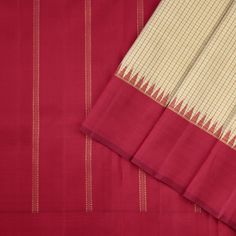 This kanjivaram sari in a dual shade of pale green is handwoven with fine checks in red running along the body. The temple korvai border is in maroon shot with bright red, while the pallu features stripes in gold zari. Indian Silk Sarees, Ethnic Sarees, Soft Silk Sarees, Silk Saree Kanchipuram, Ethnic Suit, Elegant Saree, Beautiful Saree, Saree Blouse Designs, Indian Bridal