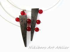 Geometric abstract pendant wenge pendant by NikibarsNatureArt