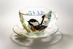 Hand Painted Chickadee Cup and Saucer Set, Backyard Bird Teacup Set, Personalized Bird Lover Gift Painted Cups, Hand Painted, Gifts For Your Mom, Backyard Birds, Cup And Saucer Set, Teacups, Tea Set, Painting, Products