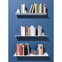 Emform Lyn Wandregal / Bücherregal aus Metall, Weiß, 70 x 16 x 12 cm