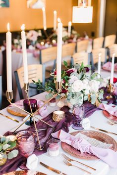 While neutral weddings may be classic, we love a pop of color and some whimsical fun. This redwood fairytales forest wedding does not disappoint. Bright florals and colorful table settings brought vintage charm while pops of gold lend elegance. Purple Wedding Tables, Purple Wedding Bouquets, Wedding Flower Arrangements, Wedding Flowers, Gold Wedding, Yellow Wedding, Wedding Ceremony, Dream Wedding, Wedding Table Settings