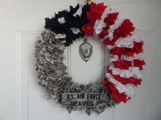 Military Uniform Wreath (Half Flag or Full Uniform) on Etsy, $35.00
