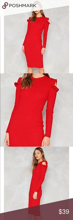 🍒 NWT Cold shoulder ribbed midi dress Cherry red ribbed knit dress with sexy ruffled shoulder cutouts in a sophisticated midi length. ❤️Perfect for the holidays!   95% polyester, 5% elastane. Model wears US size 6. Nasty Gal Dresses Midi