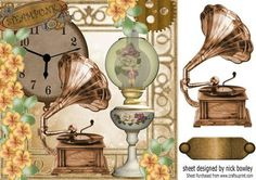 Lovely oil lamp and gramaphone with peach roses 8x8 on Craftsuprint - Add To Basket!
