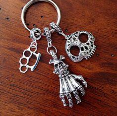 Car Accessories, Keychain, Skull Keychain, Skull and Bones Keychain, Silver Keychain,  Brass Knuckles Keychain by DorysBoutique on Etsy