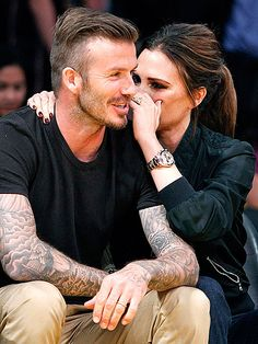 David and Victoria...Married 13 years w/ 4 kids...btw: his wife and kids are tattooed all over his body