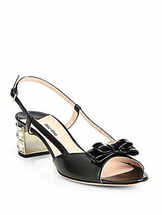 I think these are prefect with a pin up style dress so cute   Miu+Miu Vernice+Patent+Leather+Crystal-Heel+Slingback+Sandals.