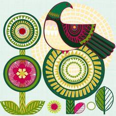 Jane Galloway, Palm Prints, Sunshine Kereru - has an embroidered look to the flower circles Bird Graphic, New Zealand Art, Nz Art, Maori Art, Bird Drawings, Naive Art, Bird Design, Art Festival, Bird Prints