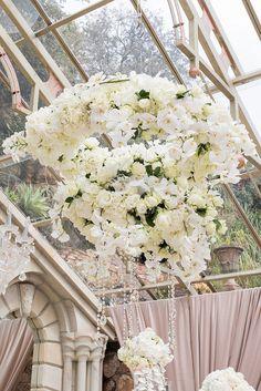 Romantic Rose Gold Wedding by Jack and Jane Chandelier Wedding Decor, Gold Wedding Centerpieces, Flower Chandelier, Wedding Venue Decorations, Glamorous Wedding, Elegant Wedding, Wedding 2017, Wedding Ceremony, Dream Wedding