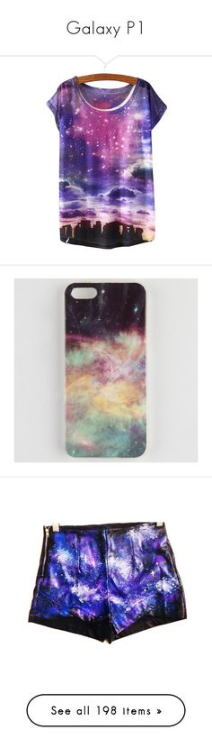 """""""Galaxy P1"""" by visiblesmiles ❤ liked on Polyvore featuring tops, t-shirts, shirts, t shirts, purple shirt, tee-shirt, t shirt, purple tee, purple top and accessories"""