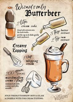 Butterbeer - inspired by the Harry Potter book series .Butterbier - inspired by the Harry Potter book series Harry Potter Party Ideas Harry Potter Party Food, Harry Potter Cookbook, Harry Potter Drinks, Harry Potter Bday, Harry Potter Halloween, Harry Potter Movies, Harry Potter Recipes, Harry Potter Butterbeer, Harry Potter Desserts