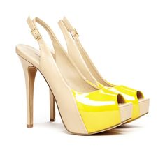 Sole Society // BRIE colorblock slingback // love the rhythm of these, created with the sweeping diagonal colour splash ... #yellow