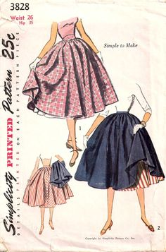 Simplicity 3828 Full Skirt and Petticoat. cute idea