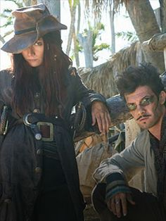 Clara Paget and Toby Schmitz as Anne Bonney and Jack Rackham from Black Sails.I really love Anne Bonney with her hat over one eye,plus shes a real bad ass.