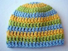 Crochet Baby Hat Striped Boy Photo Prop Lt by MirandagirlDesigns (Accessories, Hats & Caps, crochet, baby, newborn, hat, beanie, mirandagirldesigns, photography, photo prop, blue, gift, yellow, green, boy)