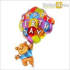 Teddy mit bunten Luftballons - Happy Birthday     Ein Geschenk zum Abheben!!! Der kuschelige Teddybär kann sich gerade noch festhalten, bevor es losgeht. Mit zahlreichen, bunten Ballons und den besten Glückwünschen für das Geburtstagskind, landet er pünktlich zum Wunschtermin bei der beschenkten Person.