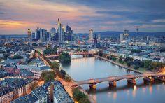 Herunterladen hintergrundbild deutschland, frankfurt am main, abend, stadt, main, fluss, brücke