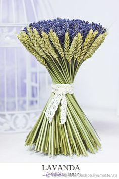 Buy A bouquet of lavender in a cuff of wheat -.- Buy A bouquet of lavender in a cuff of wheat – a bride's bouquet, a wedding bouquet, lavender, a winter wedding - Lavender Wands, Lavender Crafts, Lavender Wreath, Lavender Sachets, Lavender Flowers, Diy Flowers, Deco Floral, Arte Floral, Deco Table Champetre