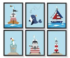 6 pictures, Maritime decoration / decoration - Maritime children's room / baby room for boys and girls - Trend Holiday Quote 2020 Poster Shop, Poster Prints, Nursery Prints, Nursery Decor, Baby Room Pictures, Blue Tapestry, Decorating With Pictures, Decoration Pictures, Childrens Room Decor