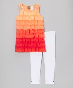 Coral Ruffle Kory Tunic & Leggings - Girls | something special every day