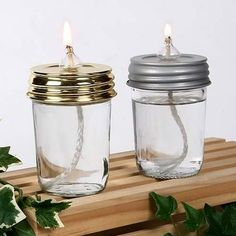 Mason jar lids with wick inserts. Turns a mason jar into an oil lamp. Mason Jar Lids, Mason Jar Candles, Mason Jar Lighting, Canning Jars, Mason Jar Crafts, Pots, Candle In The Wind, Vintage Jars, Oil Candles