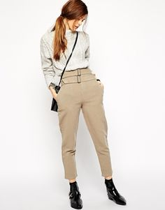 ASOS Premium Utility Peg Trousers with Buckles