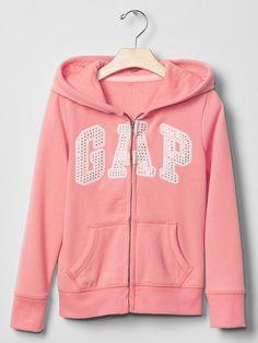 GAP Girl Fleece Hoodie Studded Logo Zip Pink Peach Pockets Cotton 12 XL $34.95 #GapKids #DressyEveryday