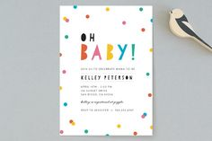 Bright Confetti Pop Baby Shower Invitations by Little Print Design at minted.com
