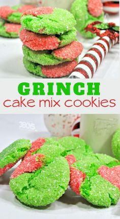 grinch cake mix cookies recipe These Grinch Cake Mix Crinkle Cookies make the perfect extra sweet treat. Your family will certain get a kick out of these Grinch crinkle cookies this Holiday season. Grinch Party, Grinch Cake, Grinch Cookies, Xmas Cookies, Cake Mix Cookie Recipes, Cake Mix Cookies, Dessert Recipes, Cake Mixes, Keto Recipes